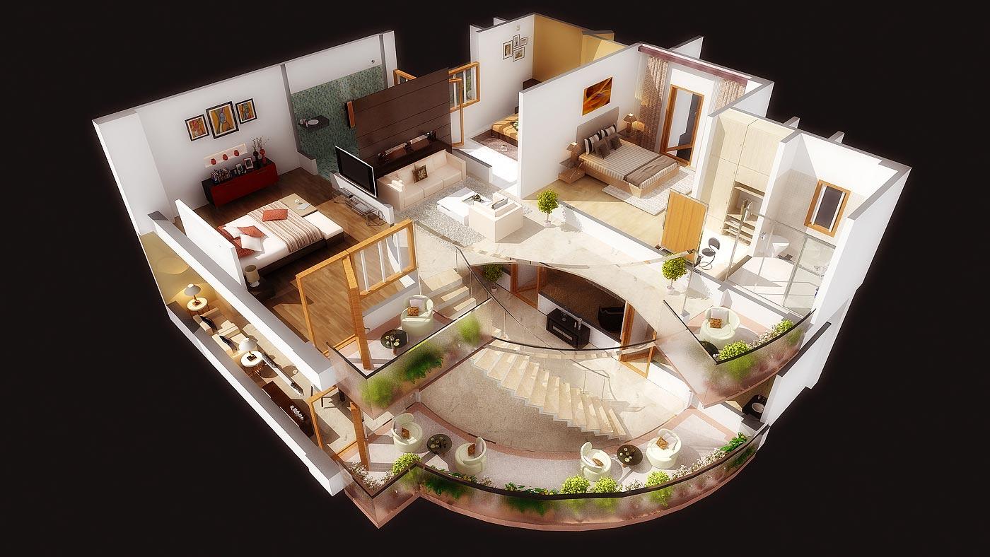 План больших особняков с мебелью фото
